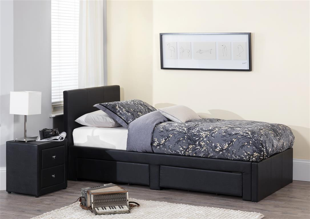serene latino faux leather bed frame. Black Bedroom Furniture Sets. Home Design Ideas