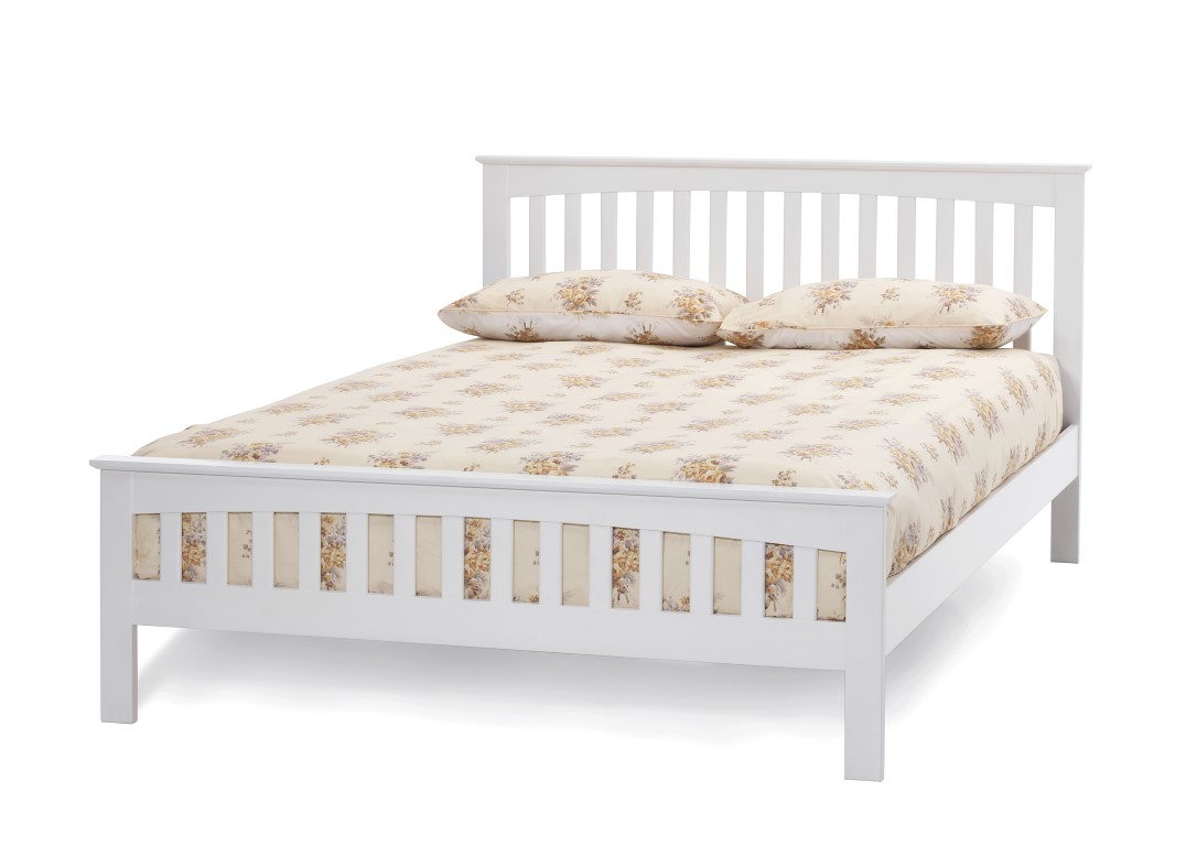 White Wood Bed ~ Serene amelia opal white bed frame