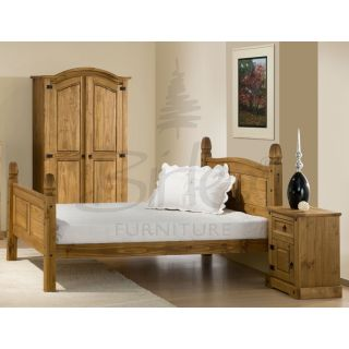 Birlea Corona Bed Frame High Foot End  Birlea Corona Bed Frame High Foot End, Traditional style bed frame available in a waxed pine finish with shaped head and foot end, stud detail and a solid slatted base