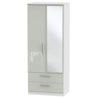 Welcome Furniture Knightsbridge Tall 2ft6in 2 Drawer Mirrored Robe